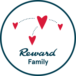 Reward Family logo with three hearts connected by dots
